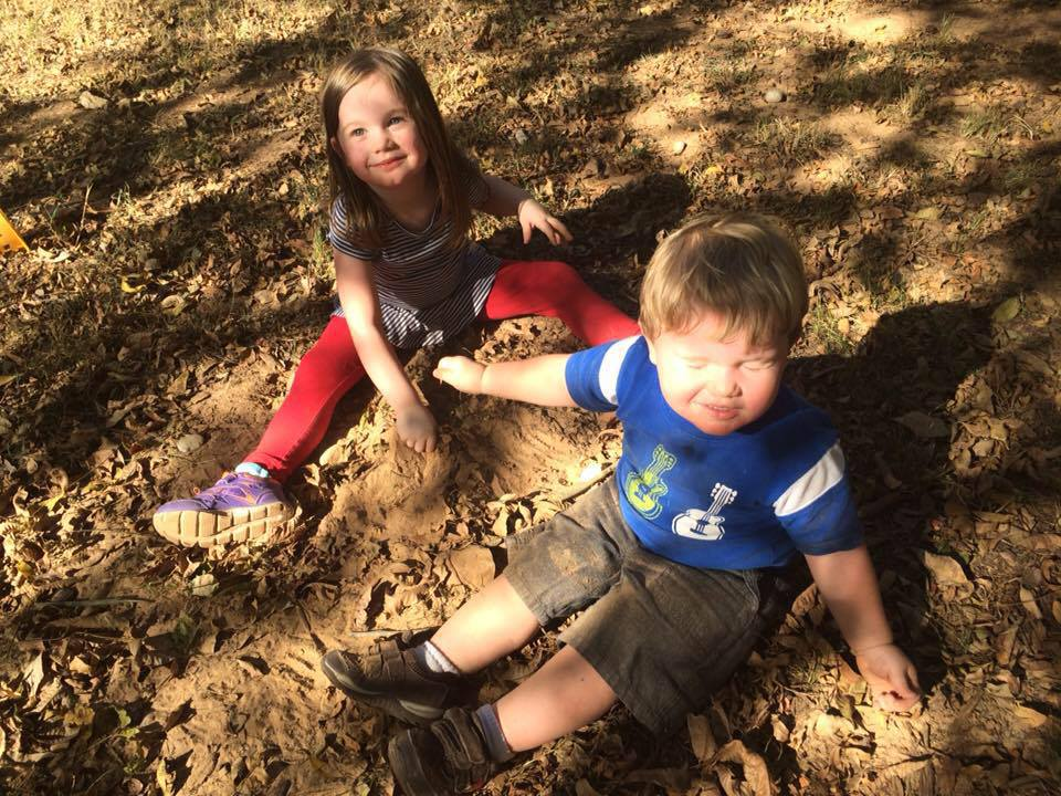My kids getting dirty, as they are apt to do